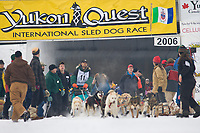 Musher Hugh Neff in Fairbanks on the Chena River at the start of the 1000 mile Yukon Quest sled dog race 2006, between Fairbanks, Alaska and Whitehorse, Yukon. Dubbed the toughest dogsled race in the world.