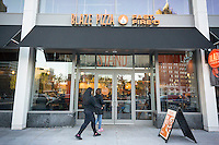 Customers enter the newly opened Blaze Pizza franchise in Newark, NJ on Saturday, 23, 2015. Blaze constructs its pizzas in a Chipotle style manner with the toppings put on catering to customers' individual preferences. (© Richard B. Levine)