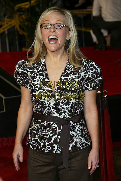 "RACHAEL HARRIS.""Reno 911: Miami"" Premiere presented by Twentieth Century Fox - Arrivals held at the Grauman's Chinese Theater, Hollywood, California, USA..February 15th, 2007.half length white top black glasses pattern mouth open.CAP/ADM/ZL.©Zach Lipp/AdMedia/Capital Pictures"