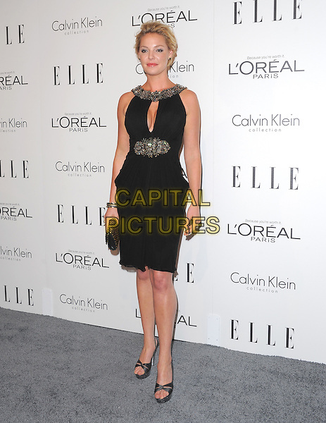 Katherine Heigl.18th Annual ELLE Women in Hollywood celebration held at The Four Seasons in Beverly Hills, California, USA..October 17th, 2011.full length black dress sleeveless silver gold beads beaded trim clutch bag.CAP/RKE/DVS.©DVS/RockinExposures/Capital Pictures.