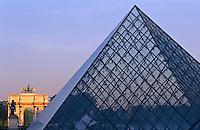 France, Paris, The Louvre, Pyramid by I M Pei and the Arc de Triumphe de Carrousal