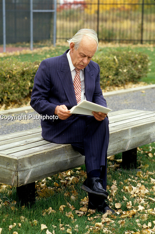 EXCLUSIVE FILE PHOTO - Former Quebec Premier Rene Levesque last photoshot on October 1987, one week prior to his death (November 1, 1987).<br /> <br /> MANDATORY CREDIT <br /> PHOTO : Jean-Pierre Karsenty - Publiphoto - Agence Quebec Presse