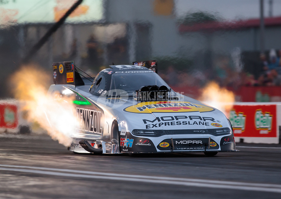 Apr 12, 2019; Baytown, TX, USA; NHRA funny car driver Matt Hagan during qualifying for the Springnationals at Houston Raceway Park. Mandatory Credit: Mark J. Rebilas-USA TODAY Sports