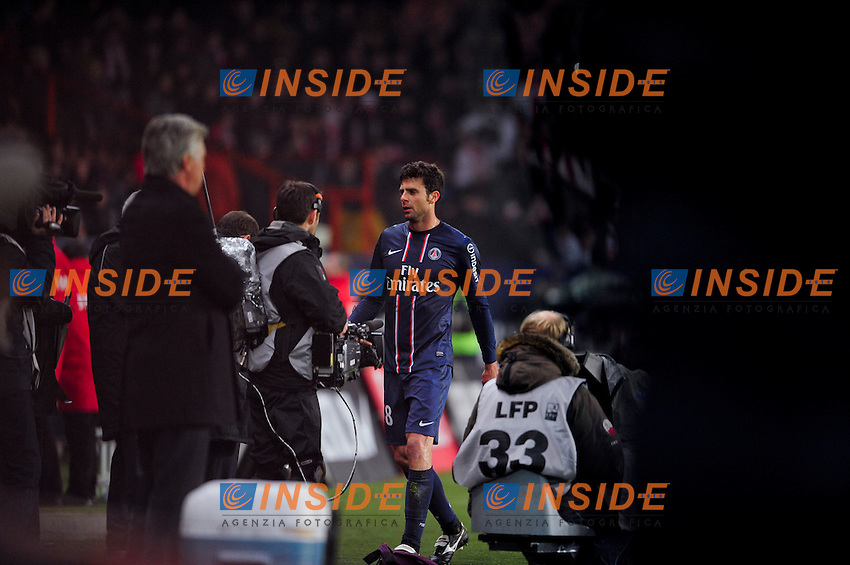 Sortie sur Carton Rouge de Thiago Motta (PSG) .Football Calcio 2012/2013.Ligue 1 Francia.Foto Panoramic / Insidefoto .ITALY ONLY