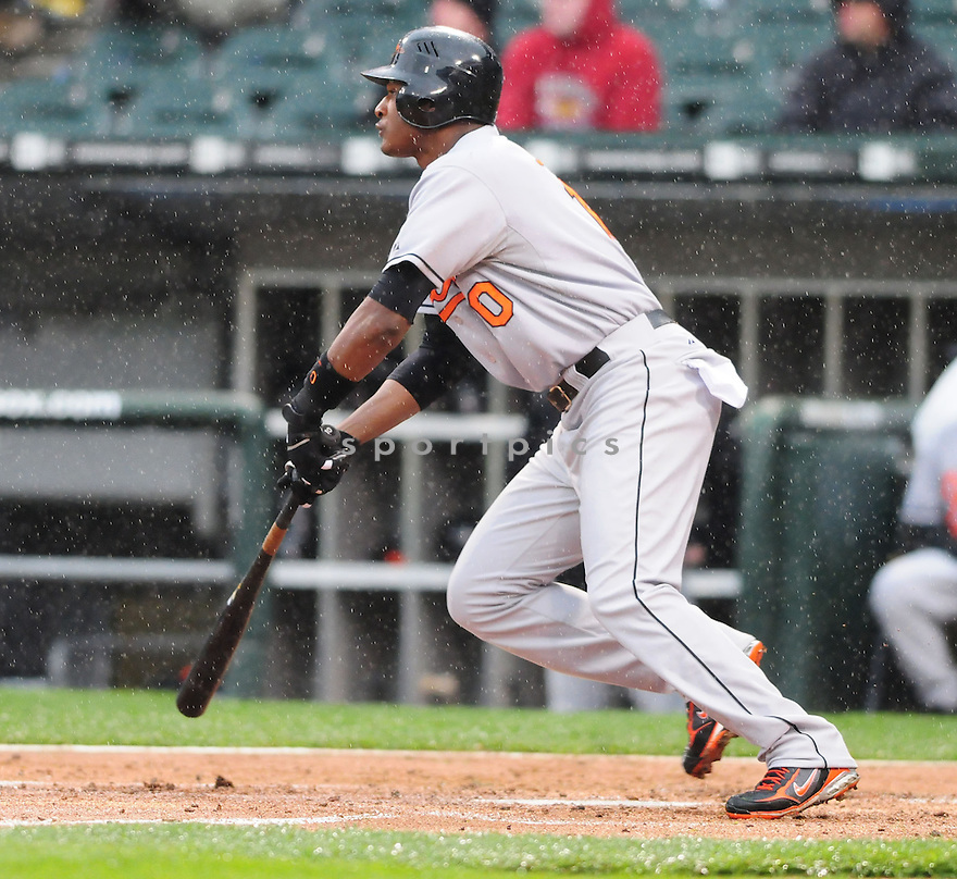 ADAM JONES, of the Baltimore Orioles , in action against the Chicago White Sox during the their  game in Chicago, IL on April 28, 2008. The game was suspended.