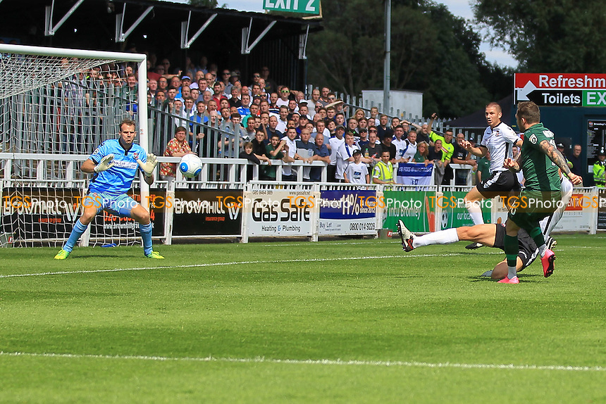 James Norwood (R) of Tranmere Rovers scores the first goal for his team and celebrates during Bromley vs Tranmere Rovers, Vanarama National League Football at Hayes Lane on 6th August 2016