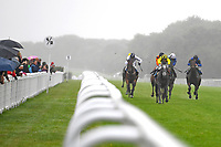Winner of The Brunton Publications Pembroke Handicap Alfred Boucher (yellow) ridden by David Probert and trained by Henry Candy during Horse Racing at Salisbury Racecourse on 14th August 2019