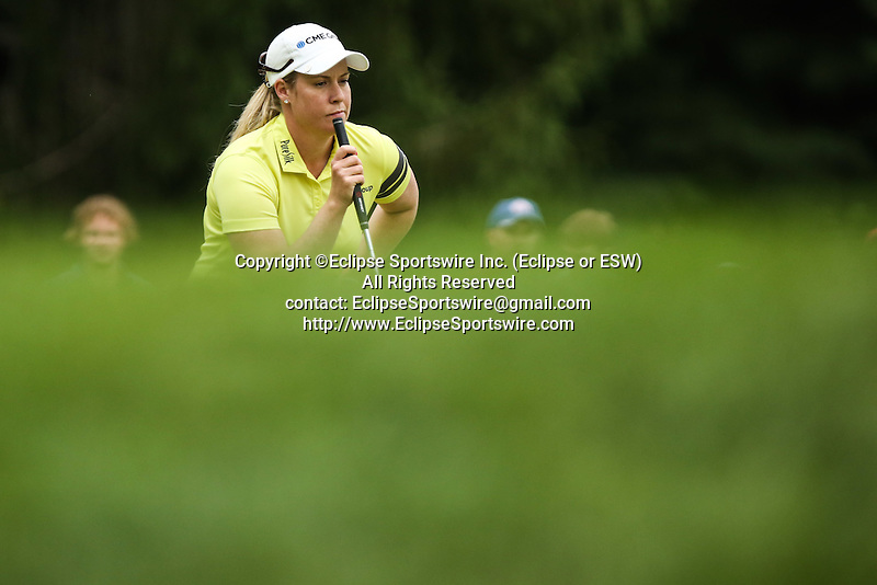 Brittany Lincicome reviews the 2nd green at the LPGA Championship 2014 Sponsored By Wegmans at Monroe Golf Club in Pittsford, New York on August 16, 2014