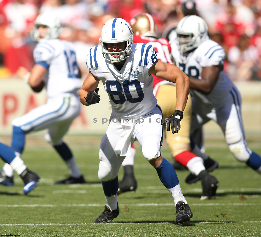 Indianapolis Colts Coby Fleener (80) during a game against the San Francisco 49ers on September 22, 2013 at Levi's Stadium in San Francisco, CA. The Colts beat the 49ers 27-7.
