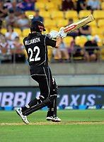 NZ's Kane Williamson tries to sweep a bouncer during the One Day International cricket match between the New Zealand Black Caps and England at the Westpac Stadium in Wellington, New Zealand on Friday, 2 March 2018. Photo: Dave Lintott / lintottphoto.co.nz