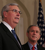 Washington, D.C. - March 3, 2005 -- United States President George W. Bush announces the appointment of Steve Johnson to be the Administrator of the United States Environmental Protection Agency (EPA) at the White House in Washington, DC on March 3, 2005. <br /> Credit: Dennis Brack - Pool via CNP