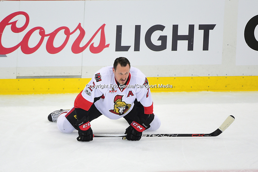 May 21, 2017: Ottawa Senators defenseman Dion Phaneuf (2) warms up before game five of the National Hockey League Eastern Conference Finals between the Ottawa Senators and the Pittsburgh Penguins, held at PPG Paints Arena, in Pittsburgh, PA. Pittsburgh shuts out Ottawa 7-0 to lead the series 3-2.  Eric Canha/CSM