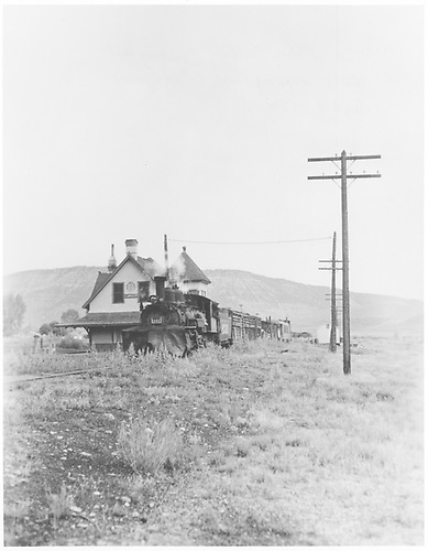 T. M. Casey Gilbert in K-27 #461 backing past Ridgway depot.<br /> RGS  Ridgway, CO  8/24/1952