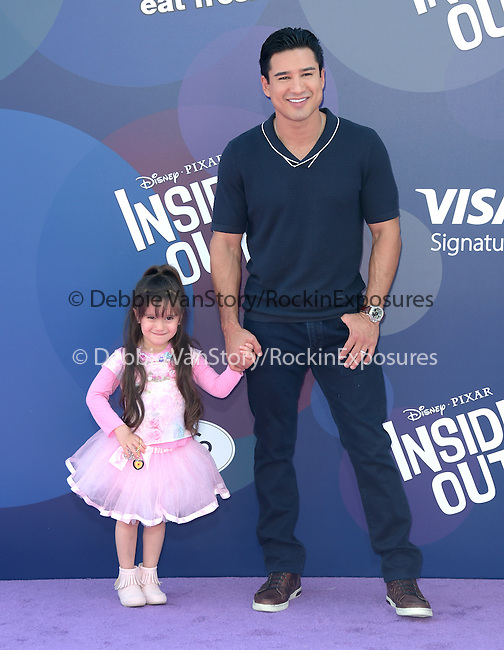 Mario Lopez and Gia Francesca Lopez attends The Disney Pixar L.A. Premiere of Inside Out held at The El Capitan Theatre  in Hollywood, California on June 08,2015                                                                               © 2015 Hollywood Press Agency