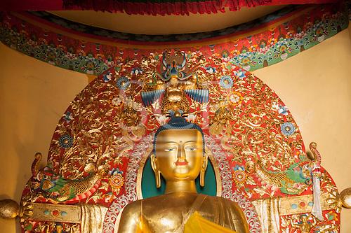Dharamsala, Himachal Pradesh, India. Golden statue of Buddha. Buddhist temple Norbulingka.