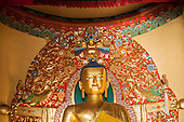 Dharamsala, Himachal Pradesh, India. Golden statue of Buddha. Buddhist temple Norbulingka.
