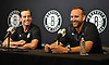 Brooklyn Nets Coach Kenny Atkinson General Manager Sean Marks. right, and Coach Kenny Atkinson have a light-hearted moment as they speak with the media at HSS Training Center in Brooklyn, NY on Tuesday, Sept. 18, 2018.