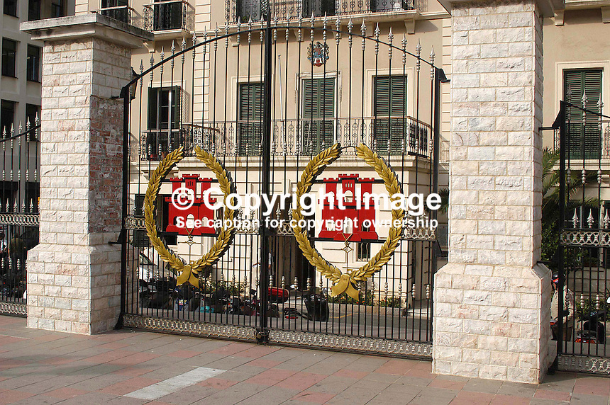 Gibraltar - Gates of City Hall on John Mackintosh Square. Ref: 200211041173...Copyright Image from Victor Patterson, 54 Dorchester Park, Belfast, UK, BT9 6RJ..Tel: +44 28 9066 1296.Mob: +44 7802 353836.Voicemail +44 20 8816 7153.Skype: victorpattersonbelfast.Email: victorpatterson@mac.com.Email: victorpatterson@ireland.com (back-up)..IMPORTANT: If you wish to use this image or any other of my images please go to www.victorpatterson.com and click on the Terms & Conditions. Then contact me by email or phone with the reference number(s) of the image(s) concerned.