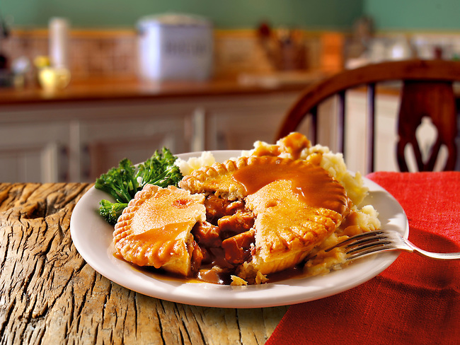 British Food - Beef steak in ale  pie & mashed potato