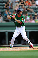 Infielder Mauricio Dubon (10) of the Greenville Drive bats in a game against the Rome Braves on Sunday, June 14, 2015, at Fluor Field at the West End in Greenville, South Carolina. Dubon is the No. 23 prospect of the Boston Red Sox, according to Baseball America. (Tom Priddy/Four Seam Images)
