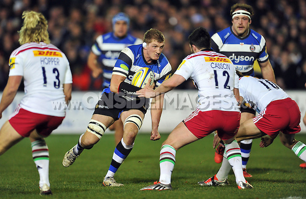 Bath Rugby captain Stuart Hooper takes on the Harlequins defence. Aviva Premiership match, between Bath Rugby and Harlequins on November 28, 2014 at the Recreation Ground in Bath, England. Photo by: Patrick Khachfe / Onside Images