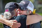 Annie Millard embraces Katie Lambie, a breast cancer survivor, after she caught a fish while participating in the Casting for Recovery fishing clinic at Bently Ranch in Gardnerville, Nev. May 4, 2018.<br /> Photo by Candice Vivien/Nevada Momentum