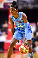 Washington, DC - July 13, 2018: Chicago Sky guard Diamond DeShields (1) handles the ball during game between the Washington Mystics and Chicago Sky at the Capital One Arena in Washington, DC. The Mystics defeat the Sky 88-72 (Photo by Phil Peters/Media Images International)