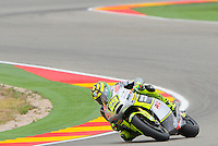 Italian rider Andrea Iannone Taking a curve during the qualifying practtice at Grand Prix Aragon 2012