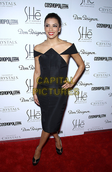 Eva Longoria.Grand Opening of SHe by Morton's inside Crystals at City Center, Las Vegas, NV, USA, 2nd February 2013..full length black off the shoulders dress peep toe shoes  pointed side boob hand on hip .CAP/ADM/MJT.© MJT/AdMedia/Capital Pictures.