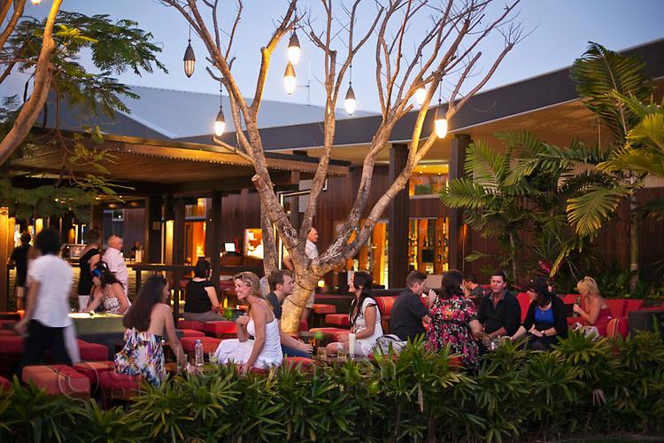 Salt House Restaurant and Bar at dusk.  Marina Point, Cairns, Queensland, Australia