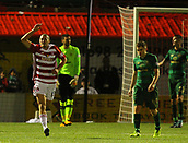 8th September 2017, SuperSeal Stadium, Hamilton, Scotland; Scottish Premier League football, Hamilton versus Celtic; Alex Gogic celebrates pulling a goal back, 4-1