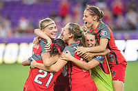Orlando, FL - Saturday October 14, 2017: Portland Thorns FC celebrating the victory during the NWSL Championship match between the North Carolina Courage and the Portland Thorns FC at Orlando City Stadium.