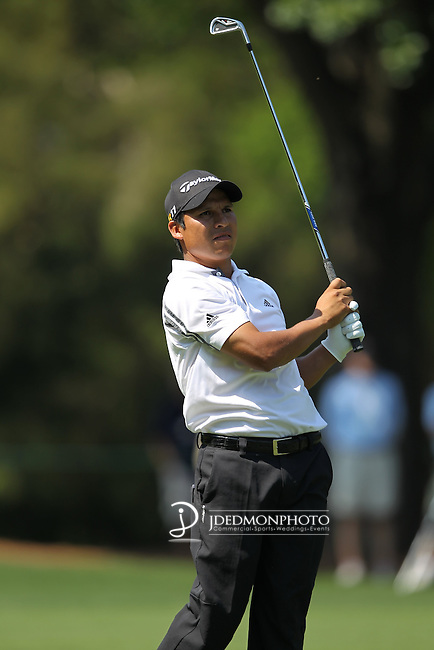 May 8,2011 - Andres Romero eyes his shot on ten.  Lucas Glover wins the tournament in sudden death over Jonathan Byrd at Quail Hollow Country Club,Charlotte,NC.