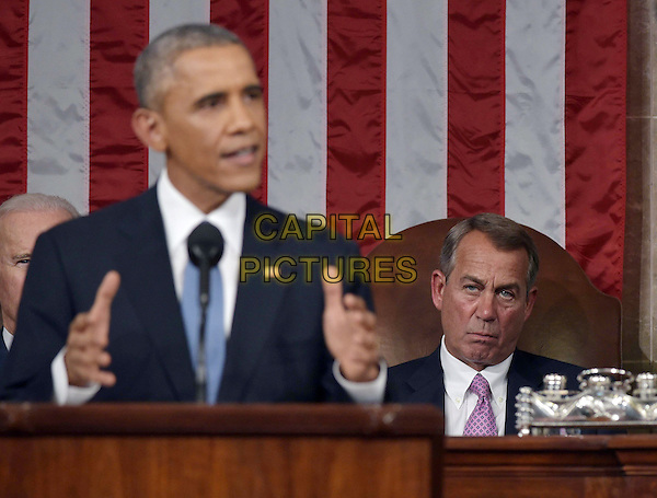 US Speaker of the House John Boehner (R) listens to US President Barack Obama deliver the State of the Union address before a joint session of Congress on January 20, 2015 at the US Capitol in Washington, DC.  <br /> CAP/MPI/MAN<br /> &copy;MAN/MPI/Capital Pictures