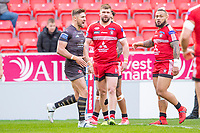 Picture by Allan McKenzie/SWpix.com - 26/04/2018 - Rugby League - Betfred Super League - Salford Red Devils v St Helens - AJ Bell Stadium, Salford, England - St Helens's Tommy Makinson celebrates his try against Salford.