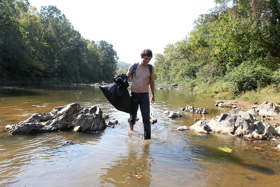 Conservation and trash clean up of the Rivanna River in Charlottesville, VA. Photo/Andrew Shurtleff