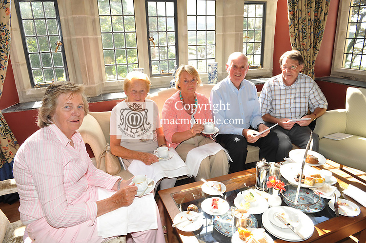 Pictured at the Ard na Sidhe Manor House afternoon tea and culture with Artist Pauline Bewick  overlooking Caragh Lake were, Denise O'Sullivan, Caragh Lake, Peg Condon Dooks, Marie Cahill, Glenbeigh, Brendan Cahill, Glenbeigh and Patrick O'Sullivan, Caragh lake..Picture by Don MacMonagle..PR photo: Ard na SIdhe:.Further info: Joanne Byrne / Presence PR 353 1 676 1062