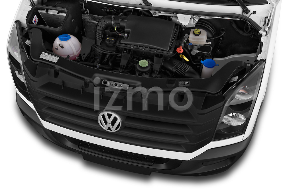 Car Stock 2014 Volkswagen CRAFTER 2.0TDI 4 Door Cargo Van Engine high angle detail view