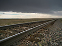 October 8 thru October 21, 2017 / Cross country Trip to Yellowstone National Park in Yellowstone, Wyoming. / Railroad tracks stretch to the horizon outside of Laramie.  Miles and miles of open spaces. Scenes from Laramie Whyoming /  Stops in Laramie, Jackson, Yellowstone with travels thru Pennsylvania, Ohio, Indiana, South Dakota, Wyoming, Montana, North Dakota, Missouri, Minnosota, and Illanois.