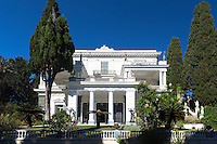 Facade of Achilleion Palace, Museo Achilleio, in Corfu, Greece