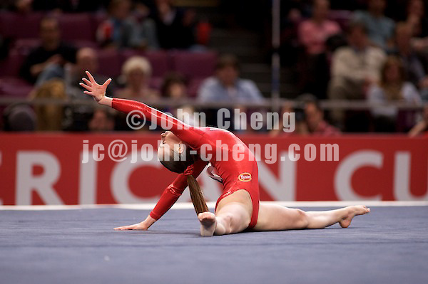 3/1/08 - Photo by John Cheng - Shayla Worley of the United States performs on floor exercise at the Tyson American Cup in Madison Square GardenPhoto by John Cheng - Tyson American Cup 2008 in Madison Square Garden, New York.Shayla Worley