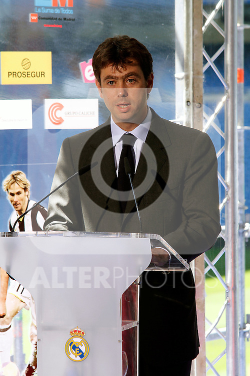Andrea Agnelli attends the 'Solidaridad Con La Infancia' charity football match presentation at Santiago Bernabeu in Madrid, Spain. April 18, 2013. (ALTERPHOTOS/Tony Molina)