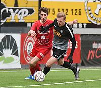 FC GULLEGEM - RC GENT :<br /> Oleksandr Beshliaha (R) is sterker aan de bal dan Nicolas Gheeraaert (L)<br /> <br /> Foto VDB / Bart Vandenbroucke