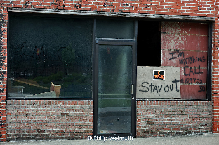Closed businesses in Welch, West Virginia, an impoversihed town affected by the decline in the local coal mining industry.