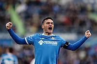 8th February 2020; Coliseum Alfonso Perez, Madrid, Spain; La Liga Football, Club Getafe Club de Futbol versus Valencia; Jorge Molina (Getafe CF)  celebrates his goal which made it 1-0 in the 58th minute