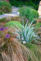 Astelia, Allium, ornamental grass, Buxus, garden chair furniture, patio, Euphorbia, for a brown and green and purple soothing garden color planting tones, stone garden path patio, deck
