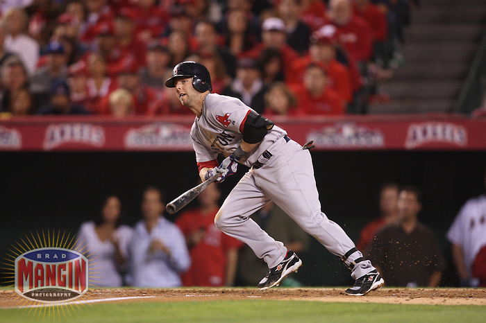ANAHEIM - OCTOBER 9:  Dustin Pedroia of the Boston Red Sox bats against the Los Angeles Angels of Anaheim during Game 2 of the American League Division Series at Angel Stadium on October 9, 2009 in Anaheim, California. Photo by Brad Mangin