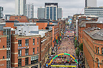© Joel Goodman - 07973 332324 . 28/05/2017 . Manchester , UK . The Great Manchester Run 2017 - runners form up and set off from Portland Street in Manchester City Centre . Security is still heightened in Manchester following a murderous bomb attack at an Ariana Grande gig at Manchester Arena on Monday 22nd May . Photo credit : Joel Goodman