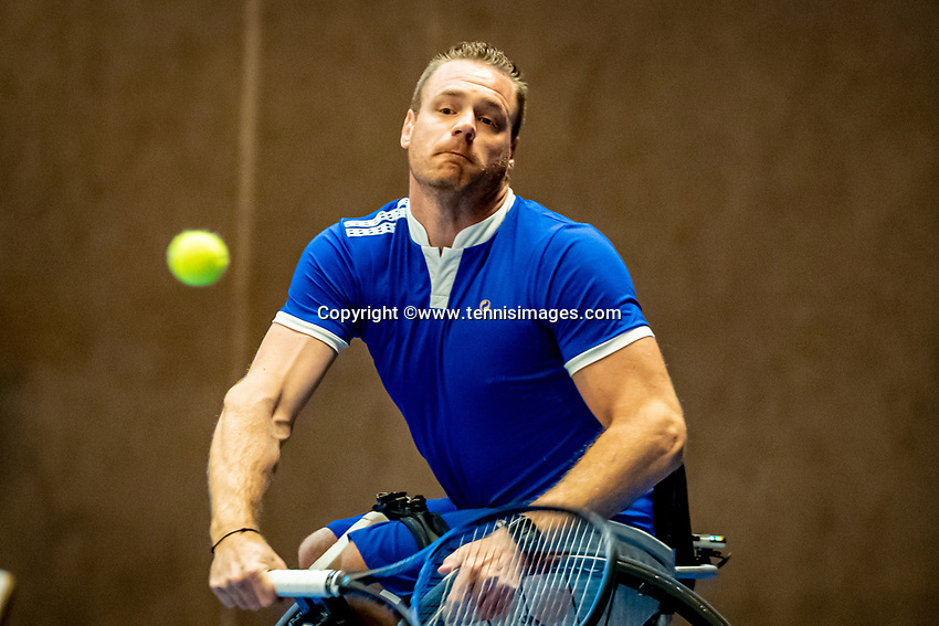 Alphen aan den Rijn, Netherlands, December 21, 2019, TV Nieuwe Sloot,  NK Tennis, Men's singles wheelchair semifinal:  (NED)  Maikel Scheffers (NED)<br /> Photo: www.tennisimages.com/Henk Koster