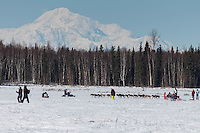 Peter Kaiser runs on Long Lake past spectarors having a picnic with Denali in the background during the Restart of the 2016 Iditarod in Willow, Alaska.  March 06, 2016.